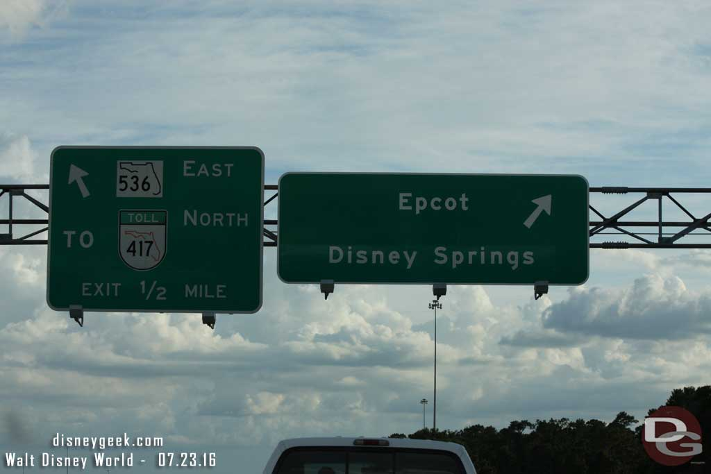 The exit for Epcot