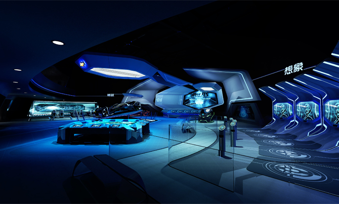 rawing inspiration from the digital world of TRON, the interior of TRON Realm, Chevrolet Digital Challenge features sleek, contrasting surfaces, glowing glass rails, and blue digital lighting, inviting guests to explore three exciting interactive zones – Imagine, Create and Drive.