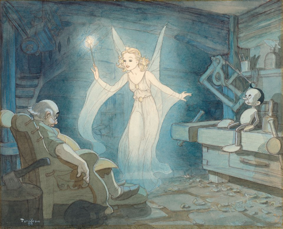 Just as the Blue Fairy works her magic on Pinocchio (1940) in this watercolor by famed Swedish illustrator Gustaf Tenggren, Walt's masterpiece made a classical art form come to life.