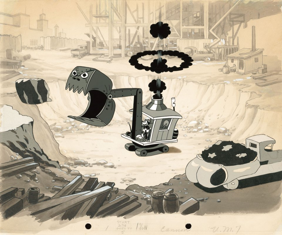 Mickey and his steam shovel hard at work in this cel setup from Building a Building (1933).