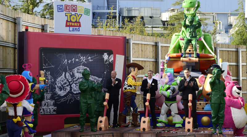 Bob Iger, Chairman and CEO of The Walt Disney Company (middle), Bob Chapek, Chairman of Walt Disney Parks and Resorts (left) and Fan Xiping, Chairman of Shanghai Shendi Group (right) recently broke ground on the new Toy Story Land at Shanghai Disneyland.