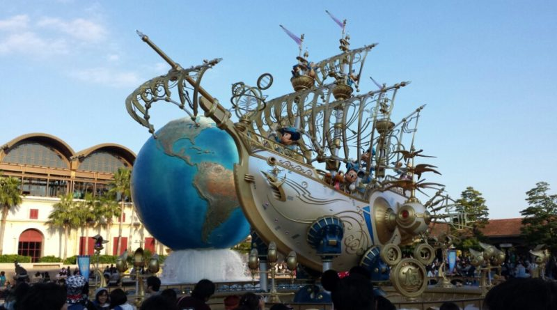Tokoy DisneySea 15th Anniversary ship in the entrance plaza