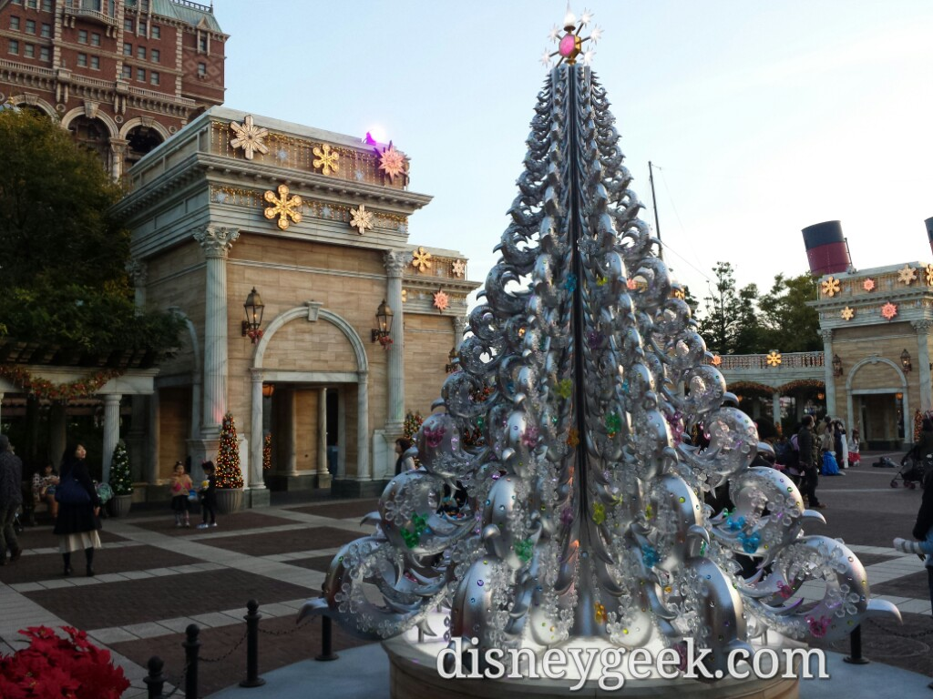 Tokyo DisneySea - A Christmas tree in the park near Tower of Terror.