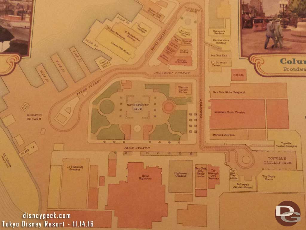 Tokyo DisneySea - Map of the American Waterfront in Toyville