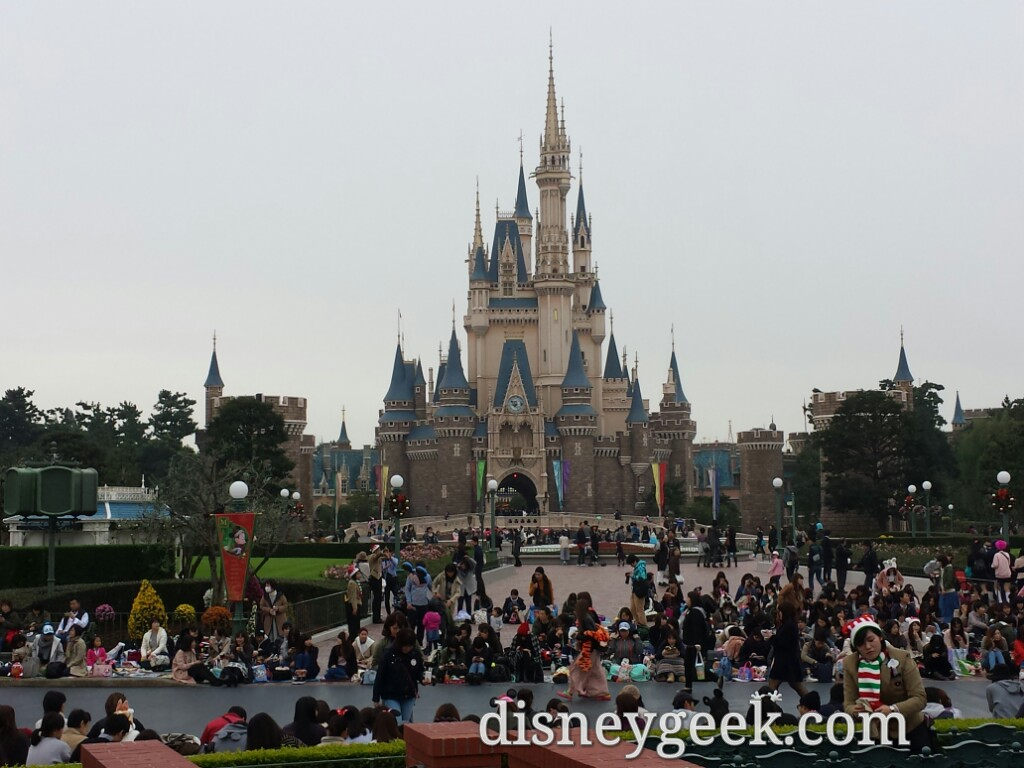 Waiting for the parade to begin. My view of Cinderella Castle.