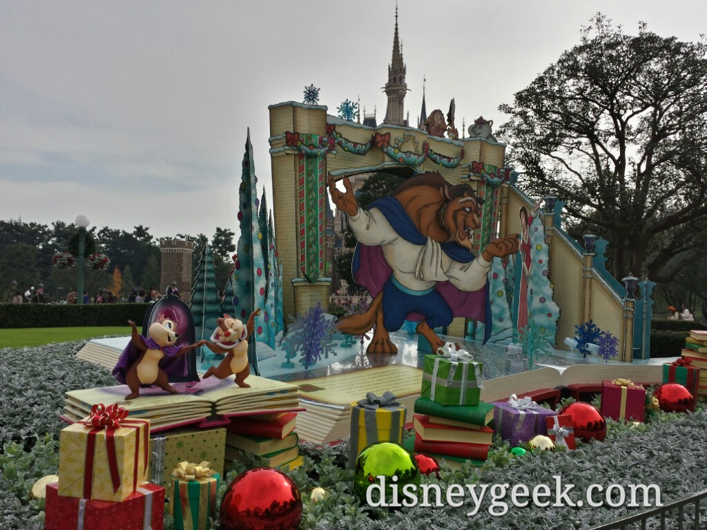 Beauty & Beast plus Chip and Dale Christmas photo op in the Central Plaza