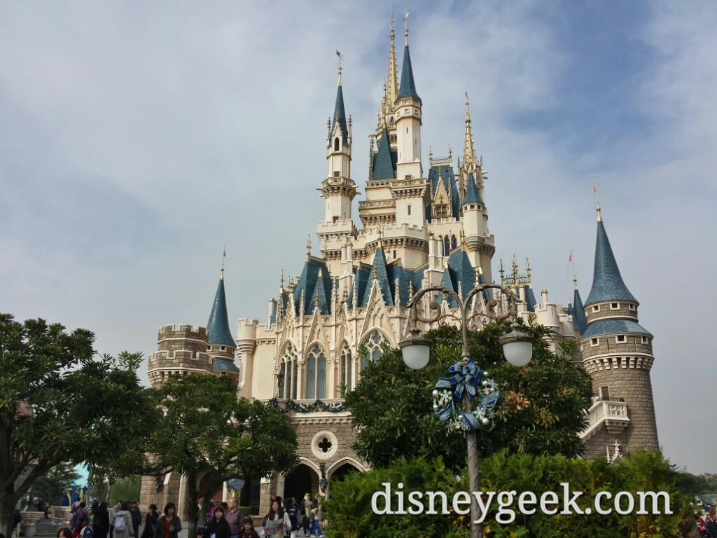 Tokyo Disneyland Cinderella Castle and Forecourt Christmas decorations