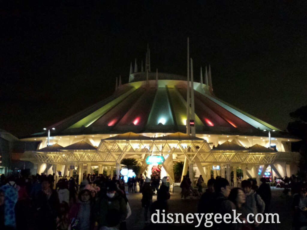 Tokyo Disneyland - Space Mountain with its sponsors colors (Coke sponsors it here)