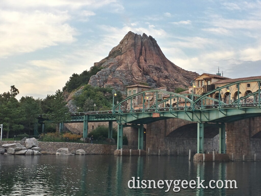 Tokyo DisneySea - Mt. Prometheus  from the American Waterfront.