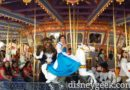 Belle & the Beast enjoying King Arthur Carrousel at #Disneyland #BeautyAndTheBeast