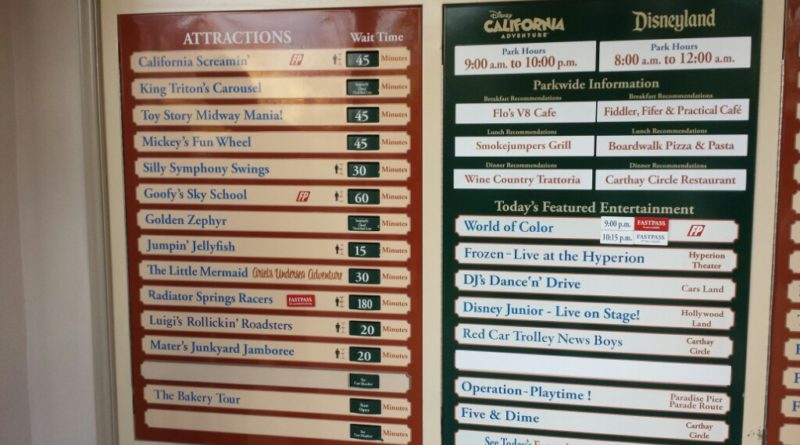 Some Disney California Adventure waits as of 5:50pm