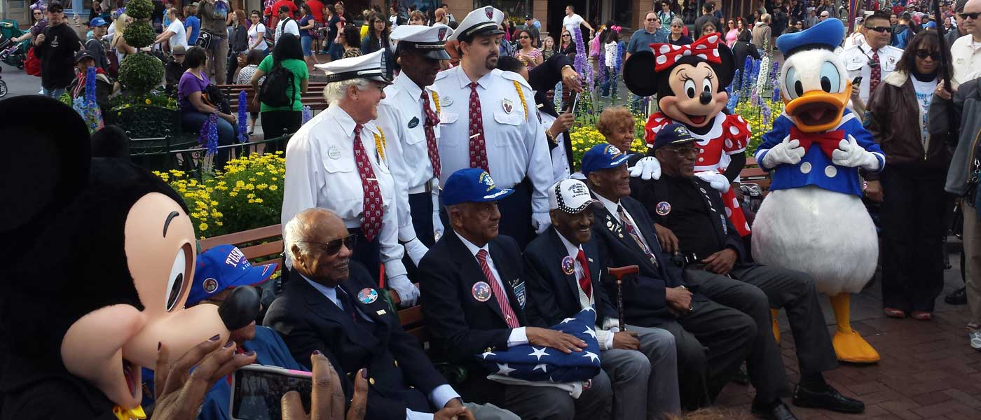 Tuskegee Airmen Honored at Disneyland Flag Retreat (several pictures)