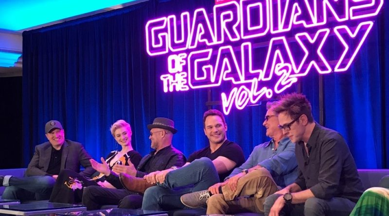 (From left: Kevin Feige – Producer, Elizabeth Debicki – Ayesha, Michael Rooker – Yondu, Chris Pratt – Peter, Kurt Russell – Ego, James Gunn – Director)
