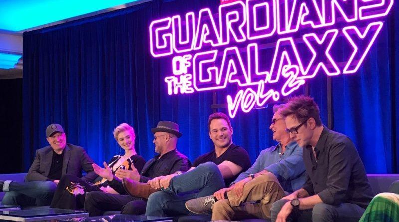 (From left: Kevin Feige – Producer, Elizabeth Debicki – Ayesha, Michael Rooker – Yondu, Chris Pratt – Peter, Kurt Russell – Ego, James Gunn – Director)
