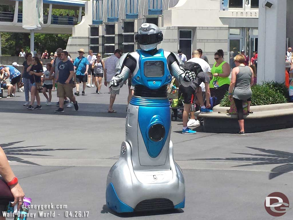 iCAN is a new visitor who comes out in Tomorrowland to interact with guests throughout the day.