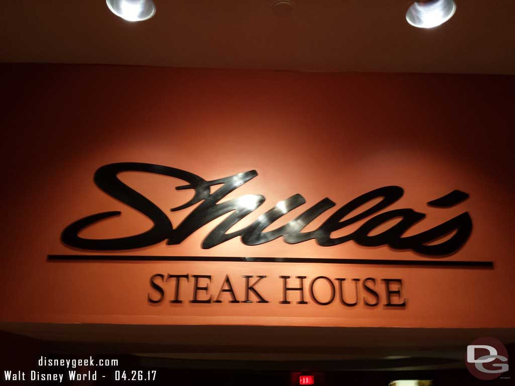 Shula's for dinner tonight.