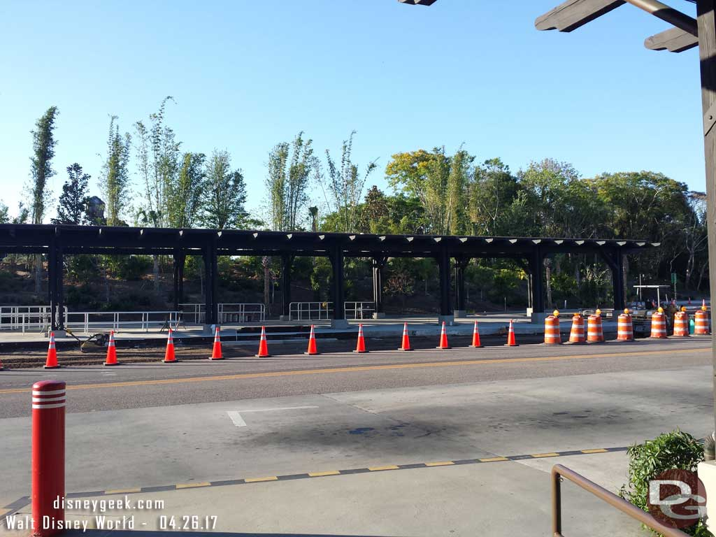 Work on the new additions to the Animal Kingdom bus stops is nearing completion but still needs some concrete.
