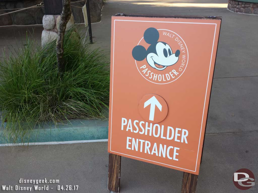 All four parks feature Annual Passholder entrance lines. It was a wash at AK this evening.