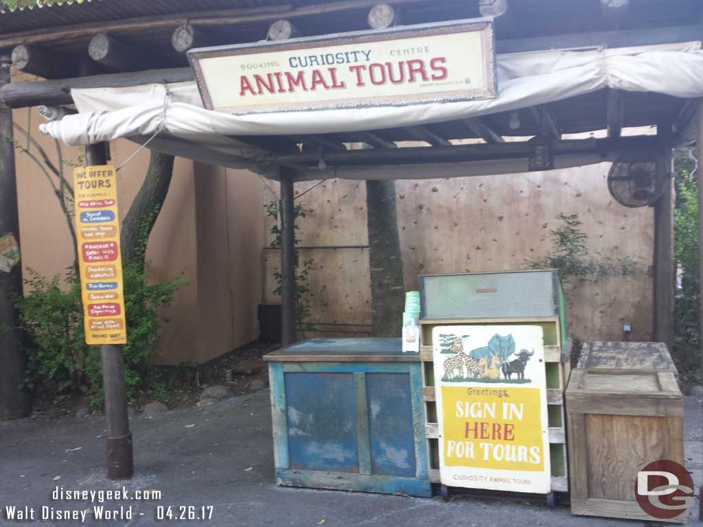 The kiosk nearest the Safari features tours now. The Express Bus service has moved down to near Tusker House