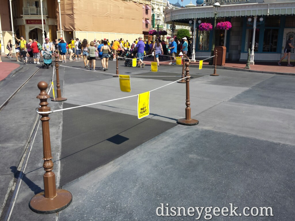 Main Street USA Repaving Project in Progress. Several squares roped off this morning.