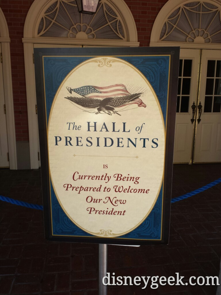 Hall of Presidents is closed for renovation until summer