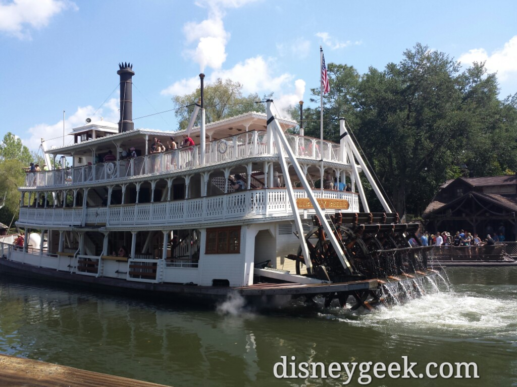The Liberty Belle cruising by on the Rivers of America