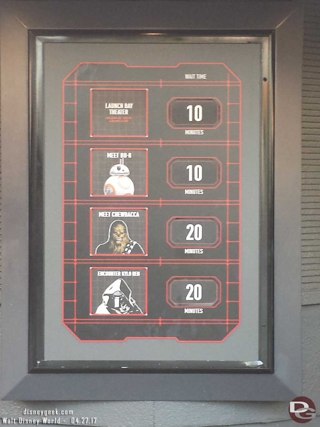 Wait times for characters in the Launch Bay