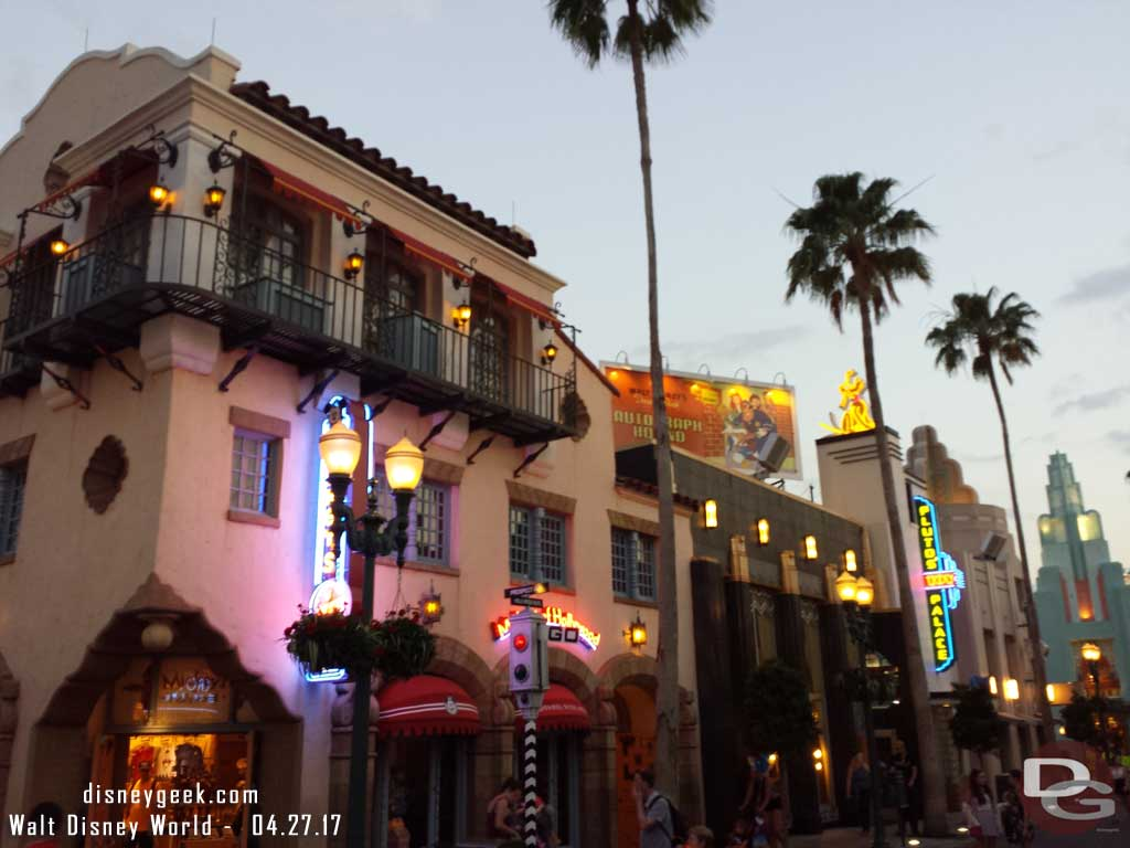 Hollywood Blvd at Disney's Hollywood Studios as the sun was setting