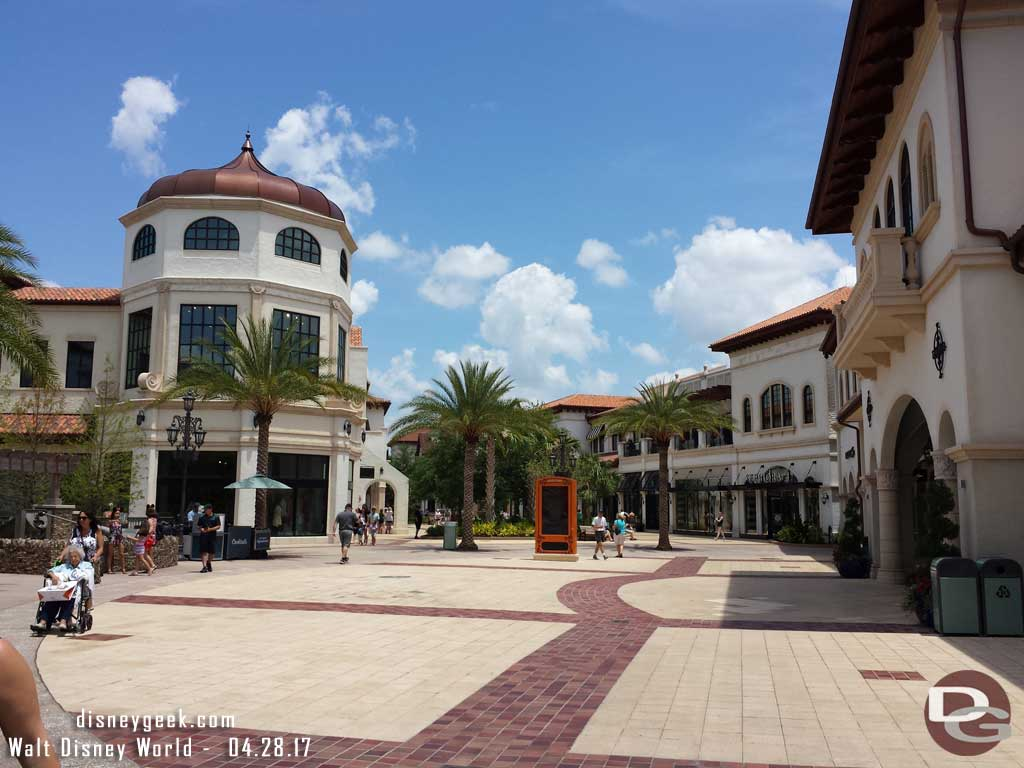 Arriving at Disney Springs and walking through the Town Center.