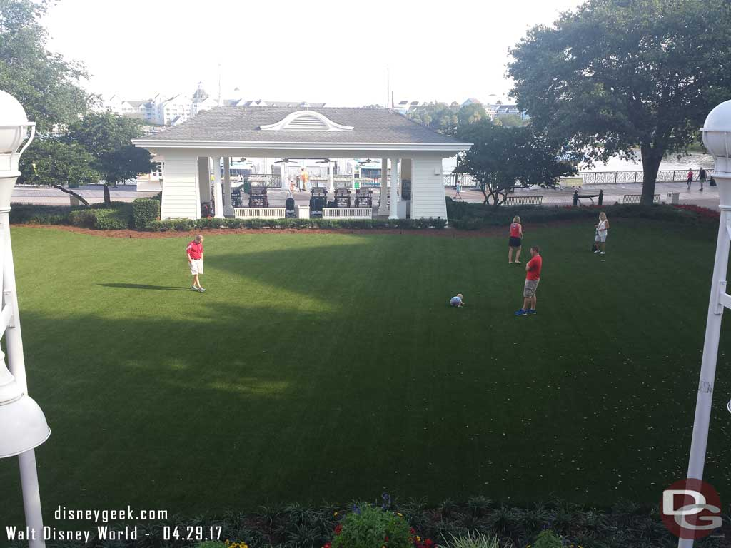 The Village Green at Disney's Boardwalk Resort is now turf and seems to have guests on it every time we walk by now.