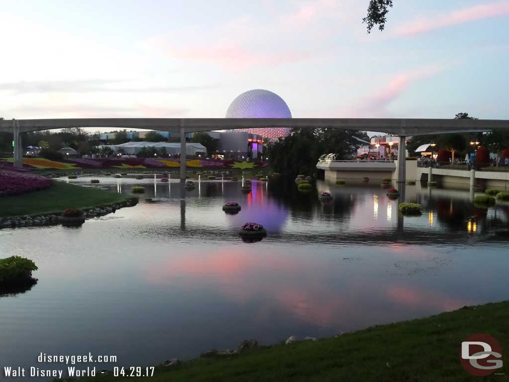 Looking toward Future World as the sun set.