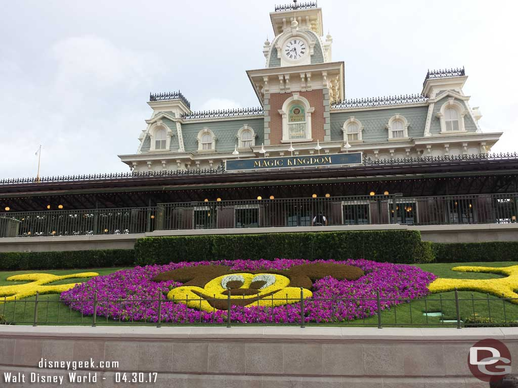Mickey Flower Bed at the Main Street Train Station