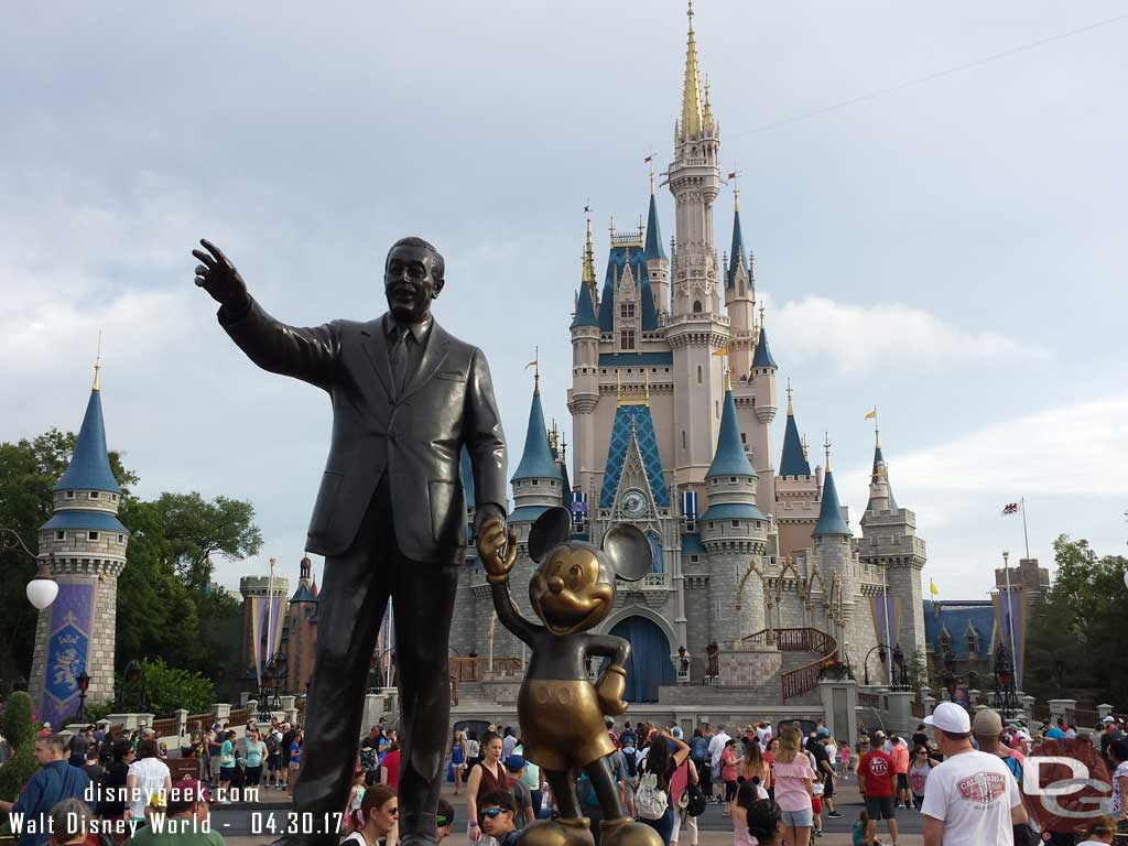 Walt and Mickey Partners Statue in the Hub at the Magic Kingdom
