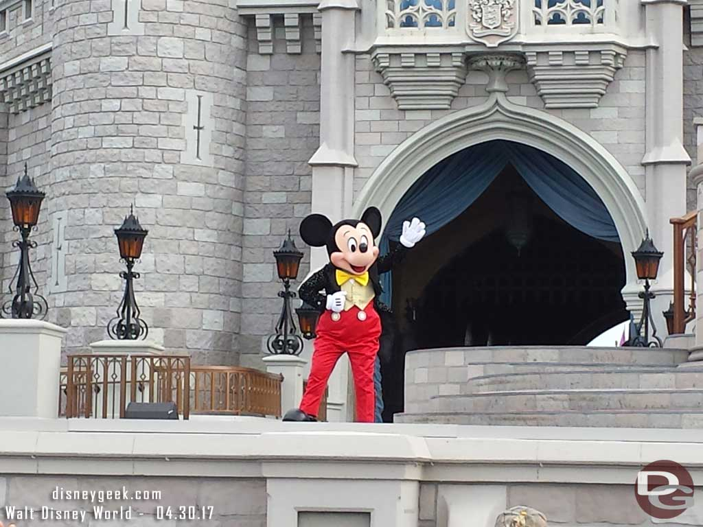Mickey and several of his friends open the park each morning with a show called Let the Magic Begin