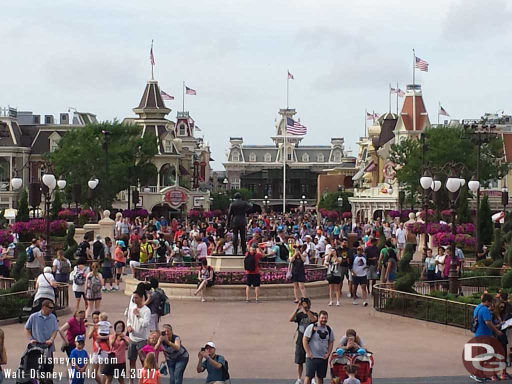 Looking toward Town Square from Cinderella Castle just after park opening.