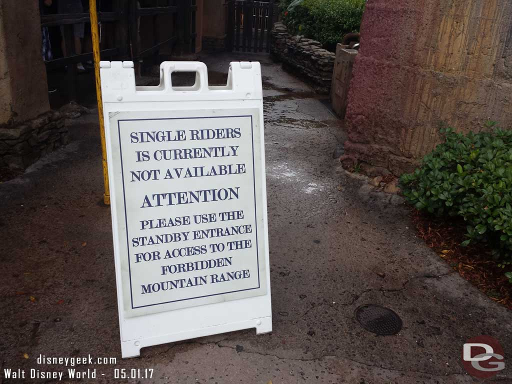 Expedition Everest single rider option was not available due to renovation work in the queue.