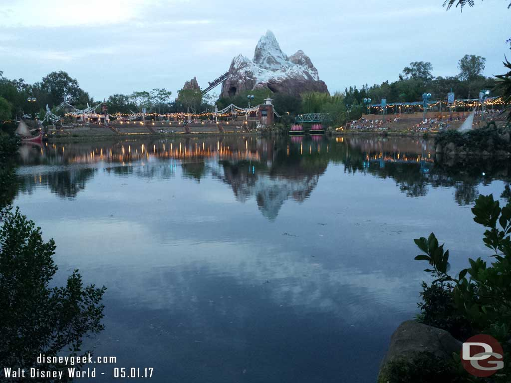 Guests starting to take their seats for Rivers of Light (Expedition Everest in the background)