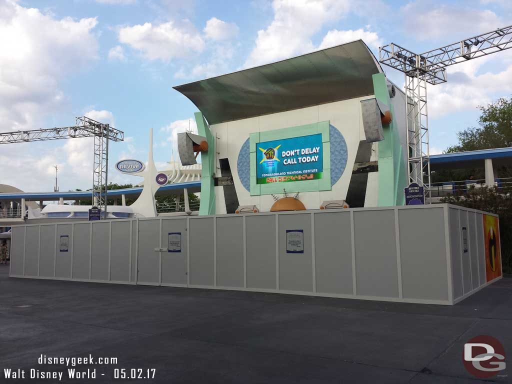 At the Magic Kingdom around 6:30pm, some renovation work on the stage in Tomorrowland.