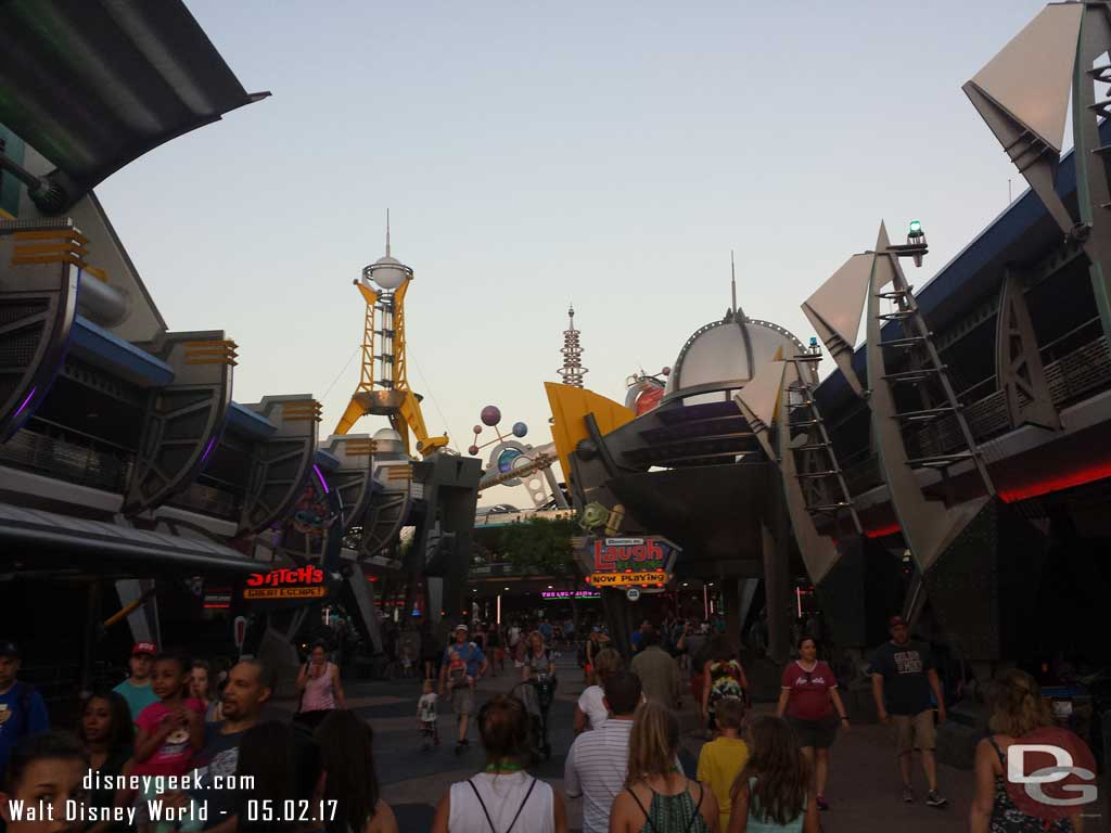 Heading to Tomorrowland to catch the 8:10 bus to Epcot.