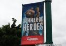 #SummerOfHeros banners line Downtown Disney