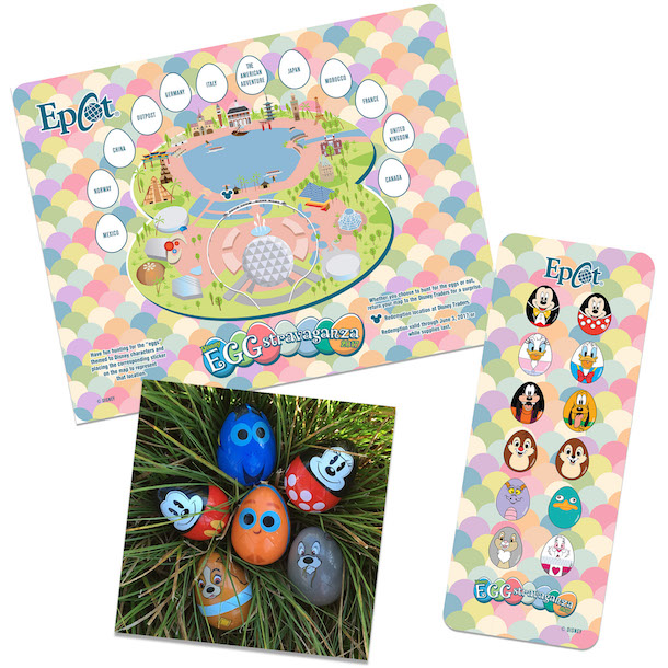 Epcot 2017 Eggstravaganza Map, Stickers and Prizes (Disney Image)