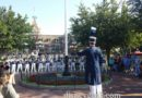 #DisneylandBand gathered around the #TownSquare #FlagPole for the #FlagRetreat