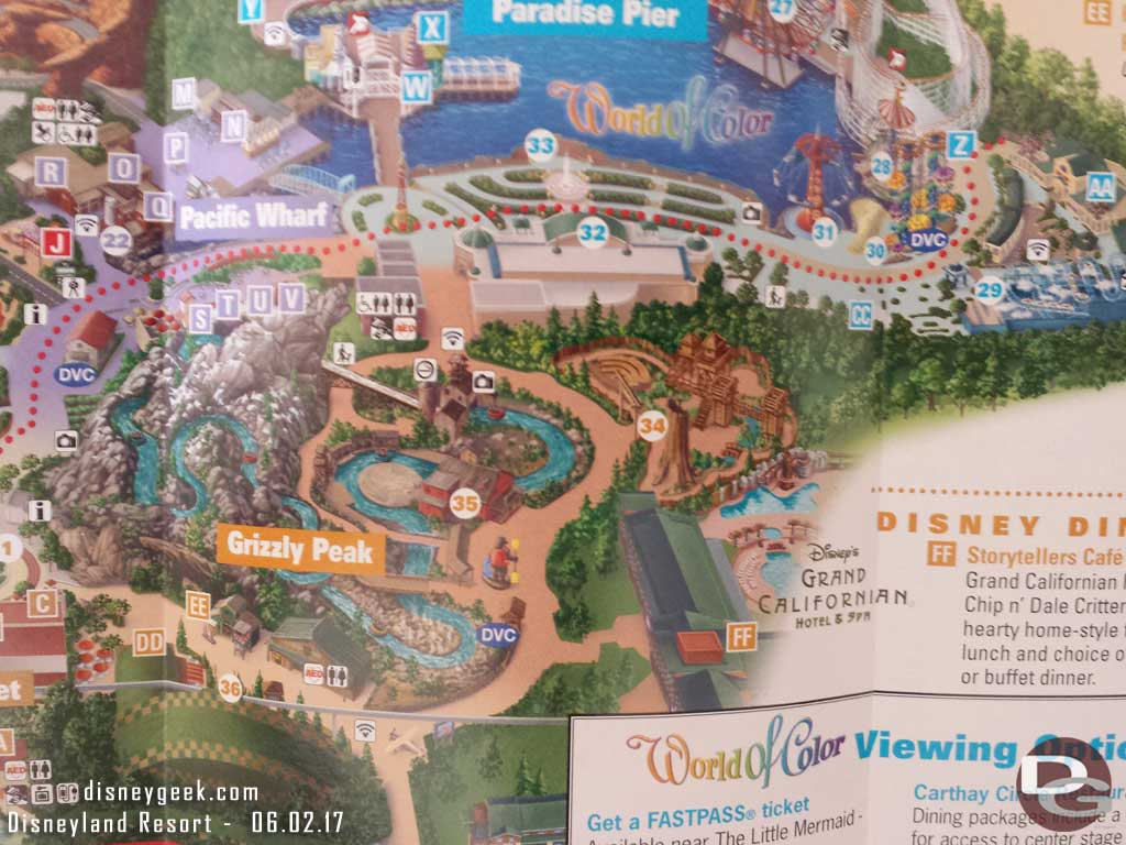 Disney California Adventure Park Map as of June 2017