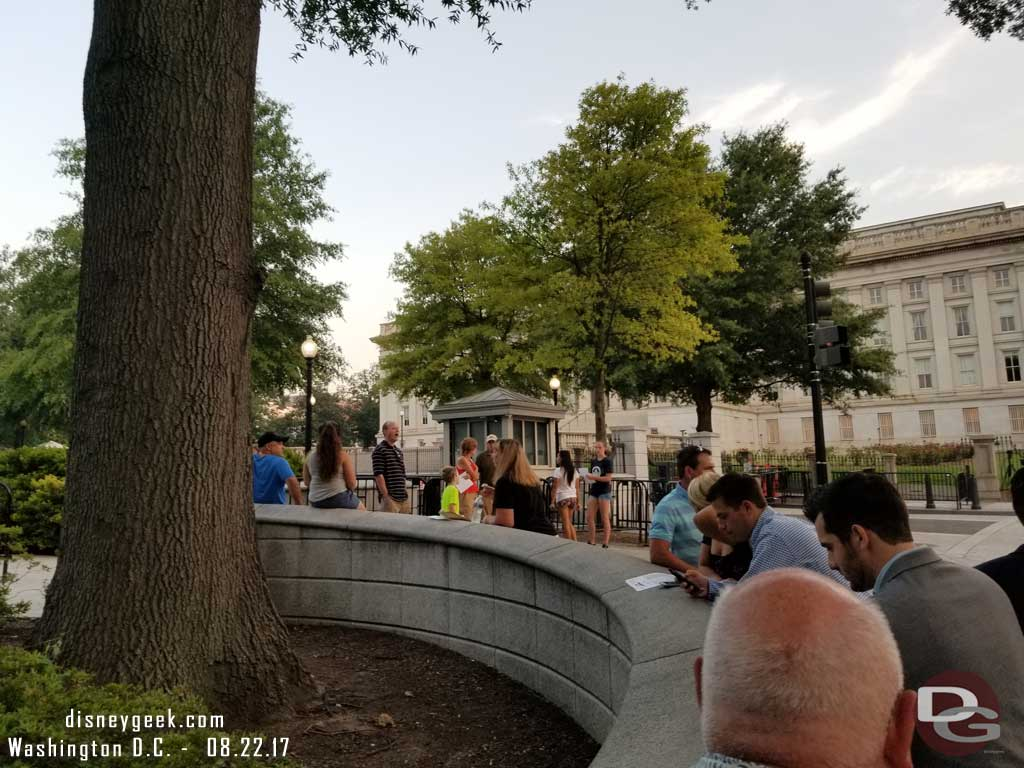 The line starting to form for those of us with 7:30am White House tour reservations. This was taken at 6:50am.