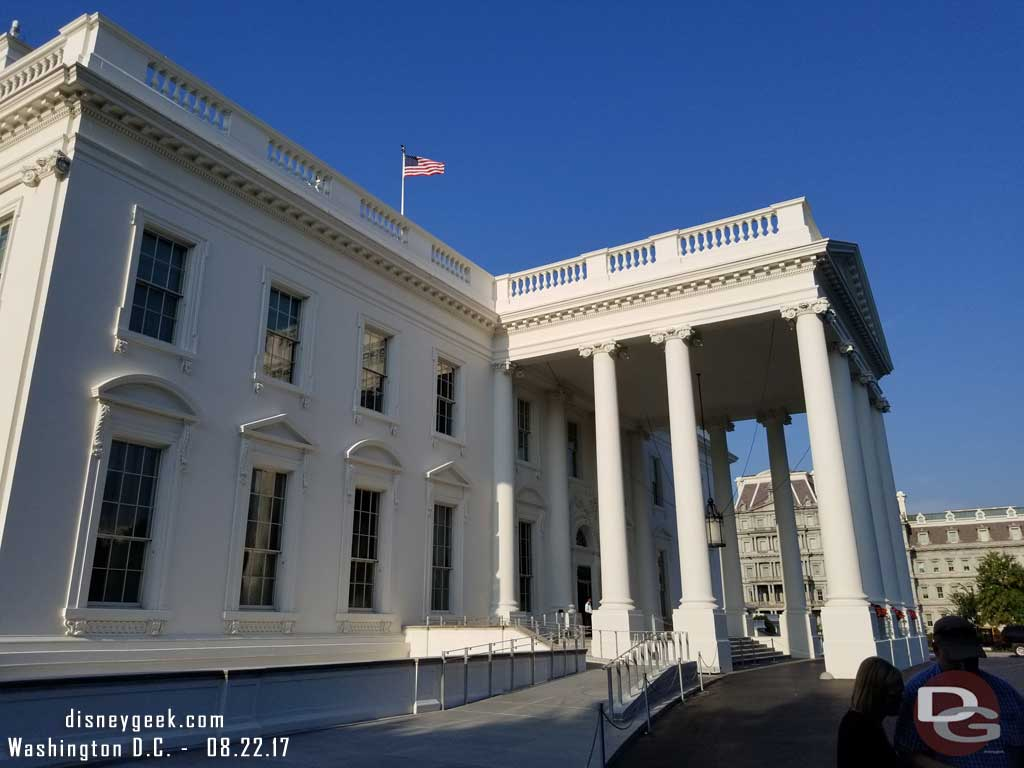 Outside the North entrance to the White House