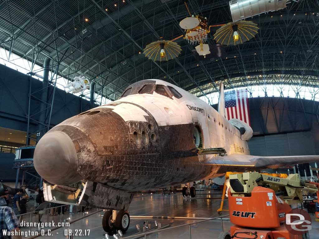 They said no problem and to come back so took a quick look into the James S McDonnell Space Hanger that has the Space Shuttle Discovery as the centerpiece.