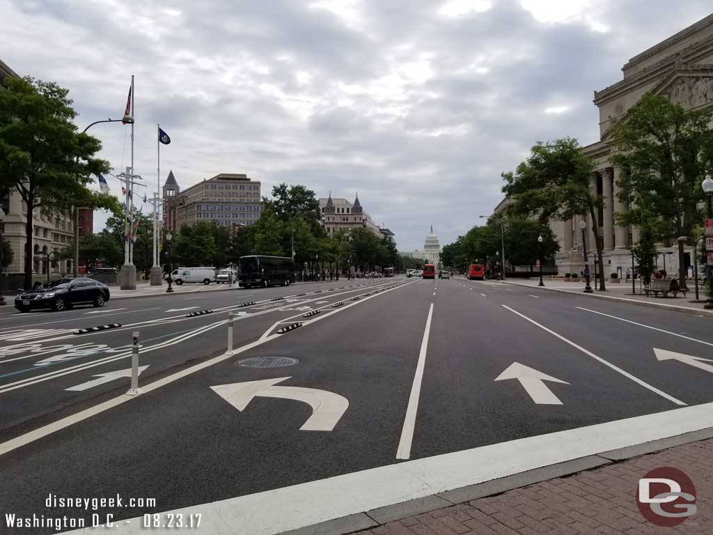 Looking up Pennsylvania Avenue toward the US Capitol