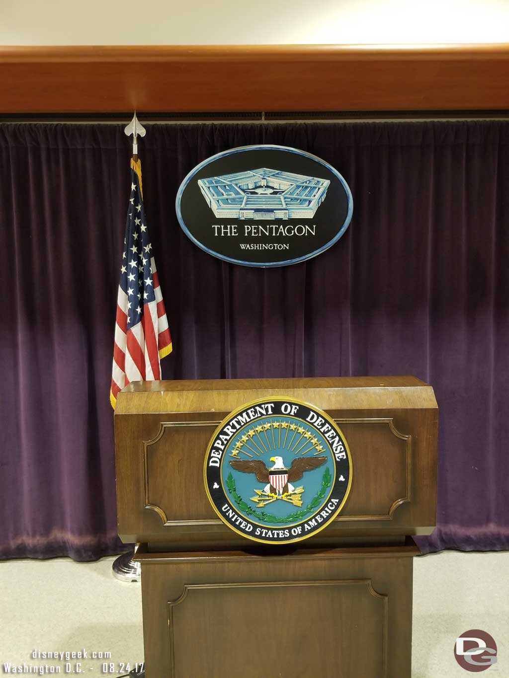 Inside the visitor waiting area is a replica of the press briefing podium that you can pose at for a picture.