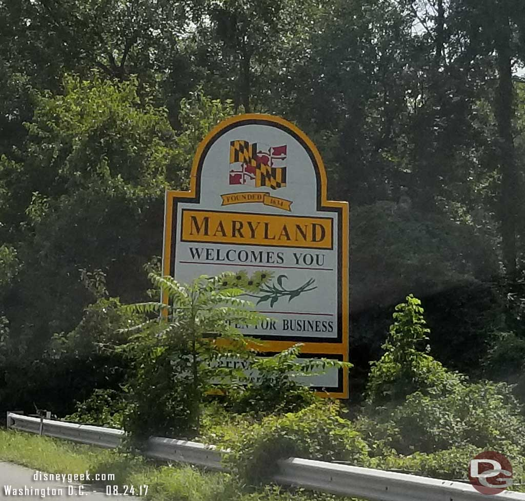Entering Maryland.