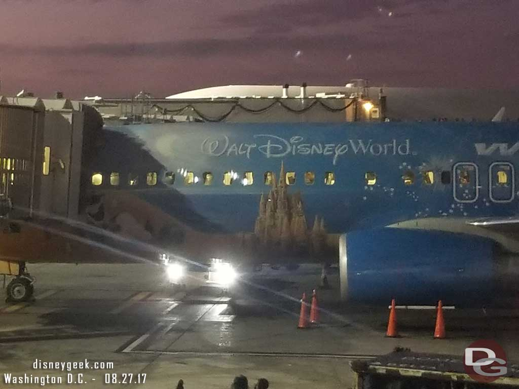 Once back at Los Angeles International Airport the gate next to the one we pulled into had a Walt Disney World WestJet featuring Frozen on the tail.